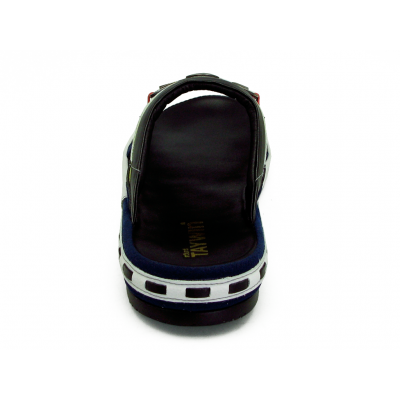 รองเท้าแตะ SKF-31 หนังไมโครไฟเบอร์นิ่มดำ-ปั่นนิ่มขาว-กลับกรมท่า-นิ่มแดง