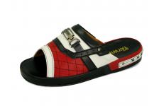 รองเท้าแตะ SKF-32 หนังไมโครไฟเบอร์ปั่นนิ่มขาว-นิ่มดำ-นิ่มแดง
