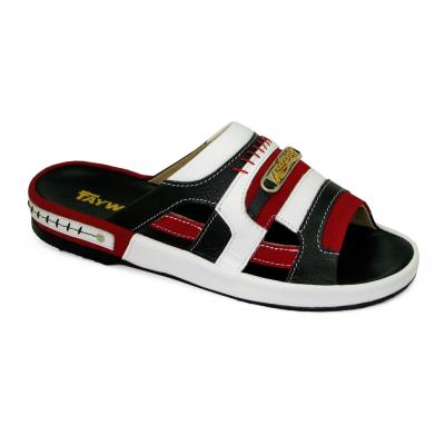 รองเท้าแตะ SKF-33 หนังปั่นนิ่มดำ-กลับแดง-นิ่มขาว