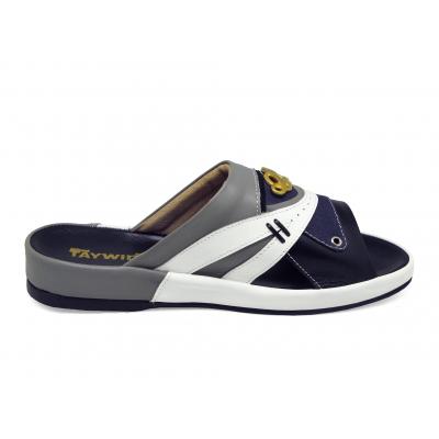รองเท้าแตะ SKF-34 หนังนิ่มดำ-ขาว-เทาอ่อน-ผ้าแคนวาสกรมท่า