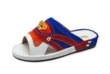 รองเท้าแตะ SKF-34 หนังนิ่มขาว-กลับแดง-น้ำเงิน-ผ้าแคนวาสส้ม