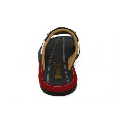 รองเท้าแตะ SKF-35 หนังปั่นนิ่มขาว-นิ่มกรม-แดง-ผ้าดำ