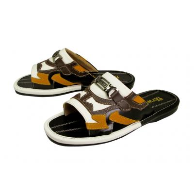 รองเท้าแตะ SKF-36 หนังครีมขาว-กลับเหลือง-นิ่มดำ-นิ่มตาล