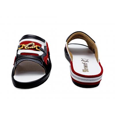 รองเท้าแตะ SKF-37 หนังนิ่มดำ-นิ่มกรมท่า-นิ่มขาว-กลับแดง