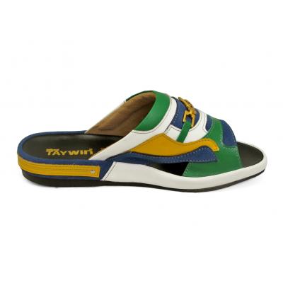 รองเท้าแตะ SKF-37 หนังนิ่มเขียวสด-เหลือง-ขาว-กลับน้ำเงิน