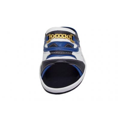 รองเท้าแตะ SKF-38 หนังไมโครไฟเบอร์นิ่มดำ-น้ำเงิน-ปั่นนิ่มขาวสลับ