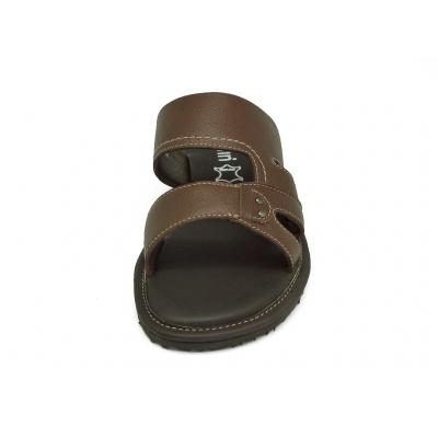 รองเท้าแตะ SKT-69 หนังนิ่มตาลแก่ลาย