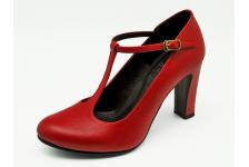 รองเท้าคัทชูส้นสูง SM-89 หนังนิ่มแดง